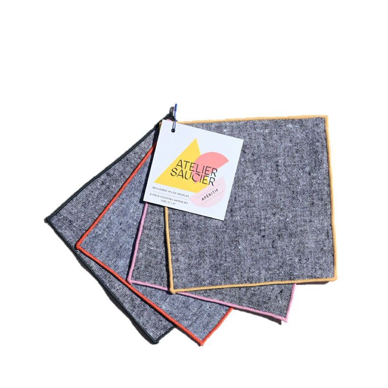 Rainbow Chambray Cocktail Napkins, Set of 4