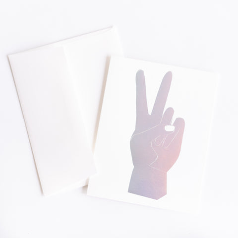 Holographic Peace Sign Card