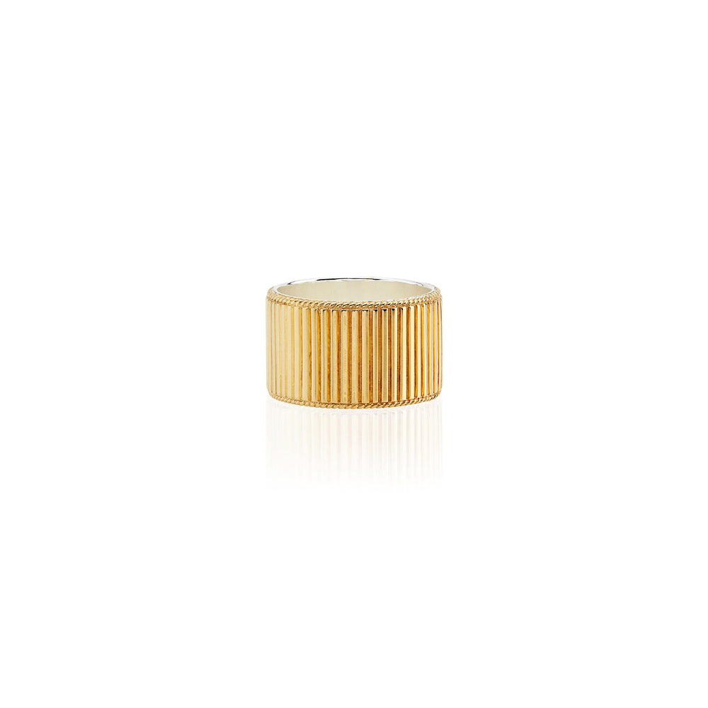 Large Gold Ribbed Band Ring