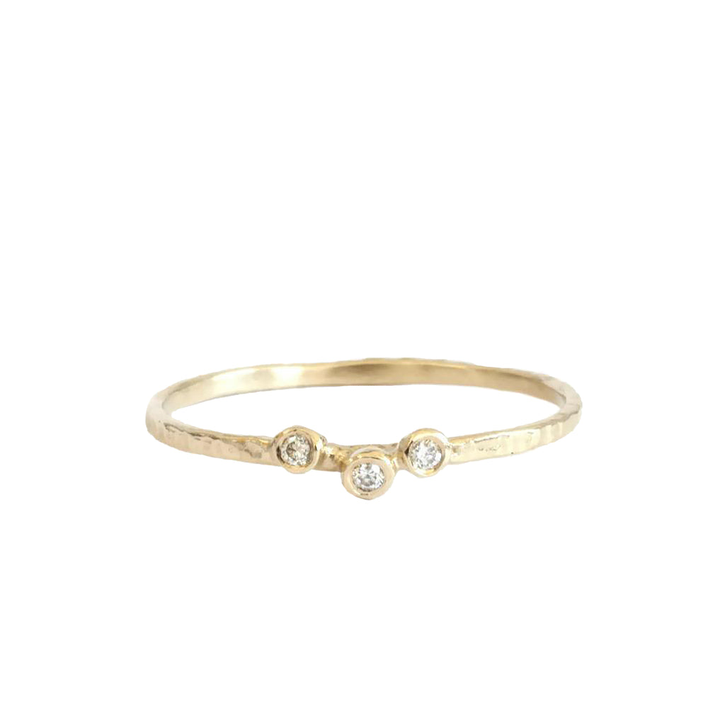14k Gold Three Diamond Hammered Ring