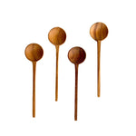 Thin Teak Spoons, Set of Four