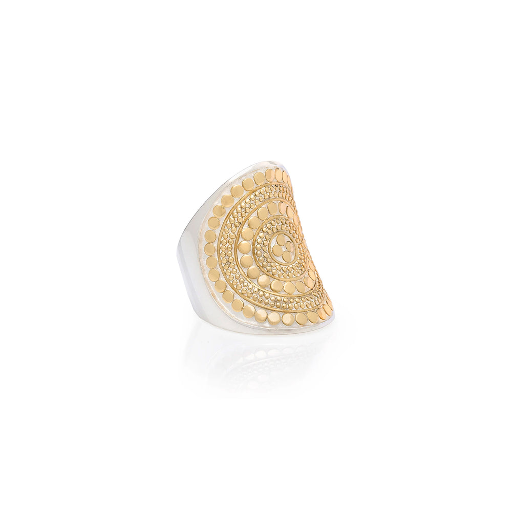 Gold Beaded Saddle Ring