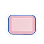 Pink with Blue Rim Baking Dish