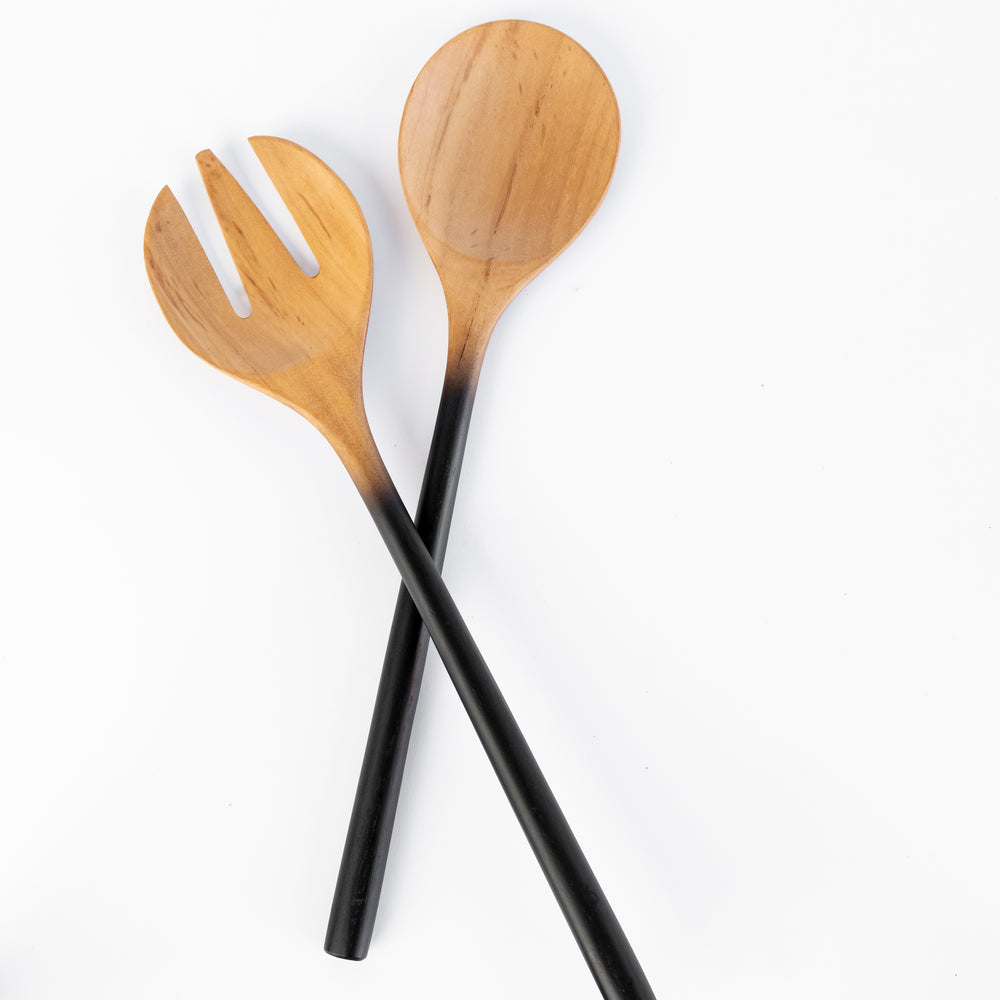Teak Salad Servers with Black Handles