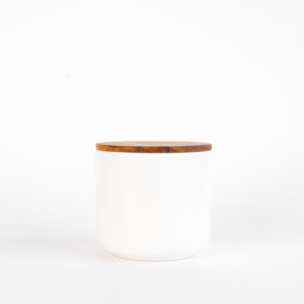 White Stoneware Containers with Acacia Lids