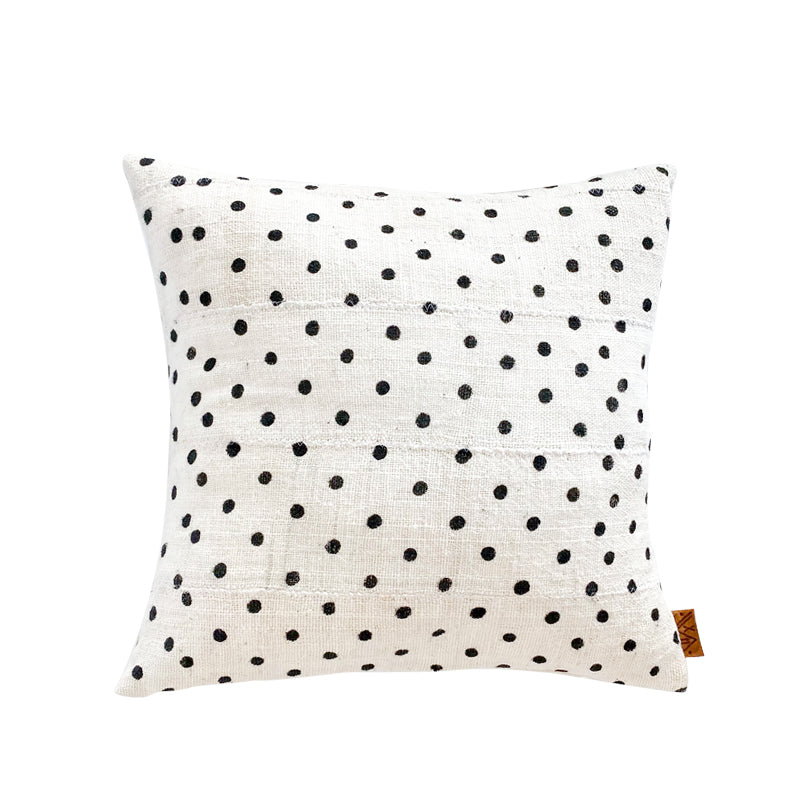 xN Studio White Dot Mudcloth Pillow