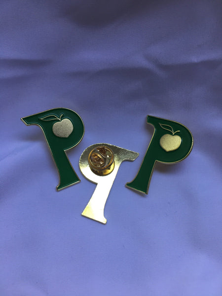 "Green and Gold ""P""each Lapel Pins"