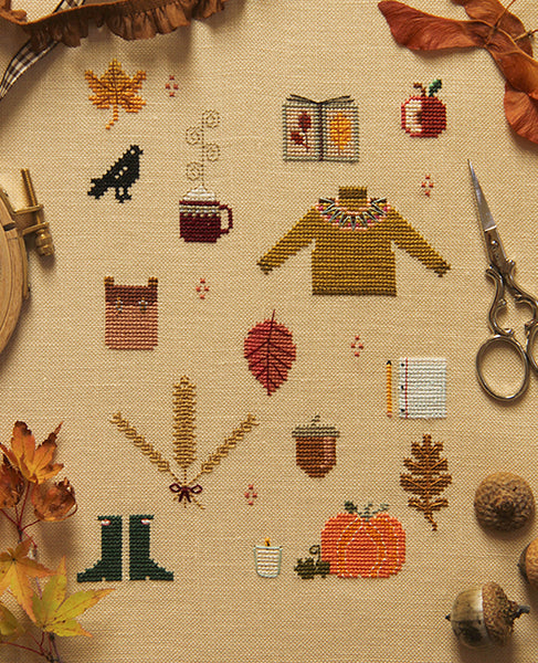 Things of Autumn Cross Stitch Sampler Pattern