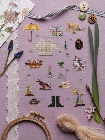 Things of Spring Cross Stitch Sampler Pattern