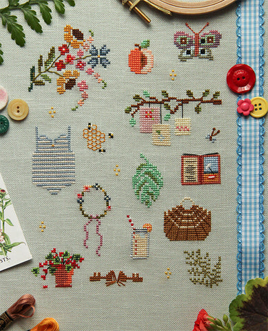 Things of Summer Cross Stitch Sampler Pattern