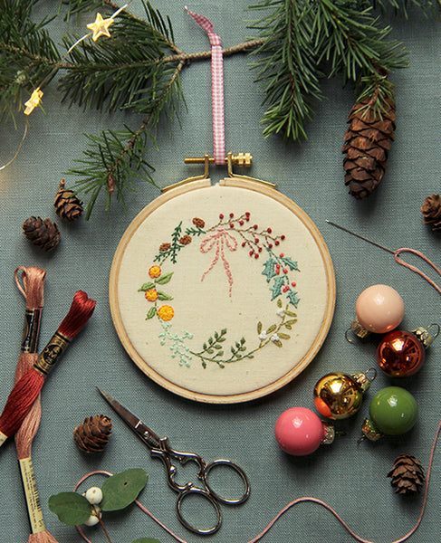 Winter Wreath Embroidery Pattern