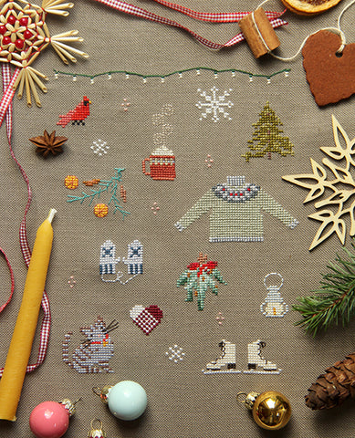 Things of Winter Cross Stitch Sampler Pattern