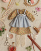 Peasant Dress, Pinafore, and Stockings Kit: Coral Blossoms on Blue 8810