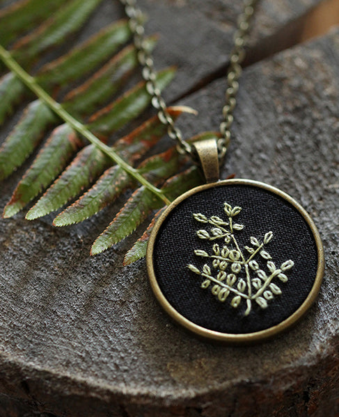 Hand-Embroidered Pendant: Fern 3