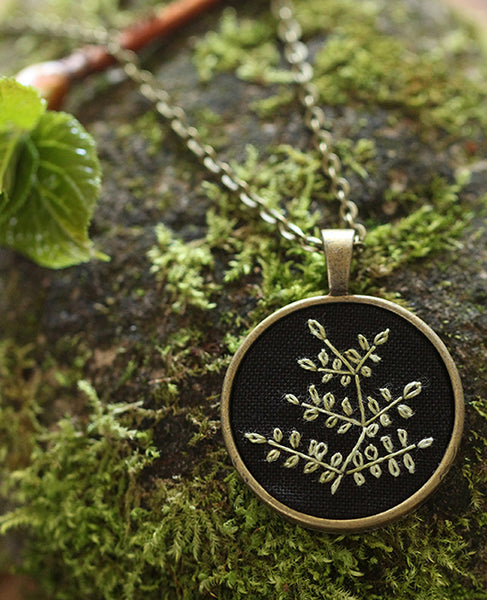 Hand-Embroidered Pendant: Fern 1