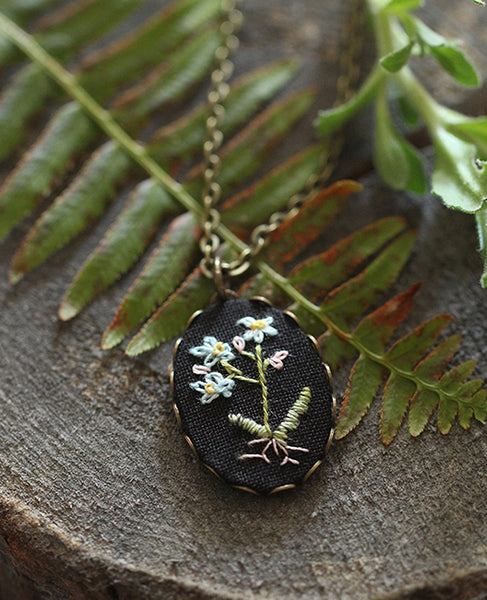 Hand-Embroidered Pendant: Forget Me Not 2