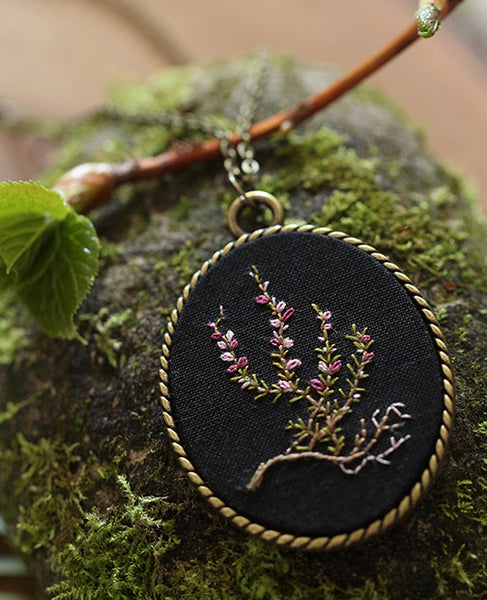 Hand-Embroidered Pendant: Wild Heather