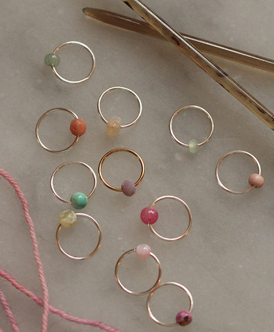 Handmade Stitch Markers: Silver Rings with Glass Beads