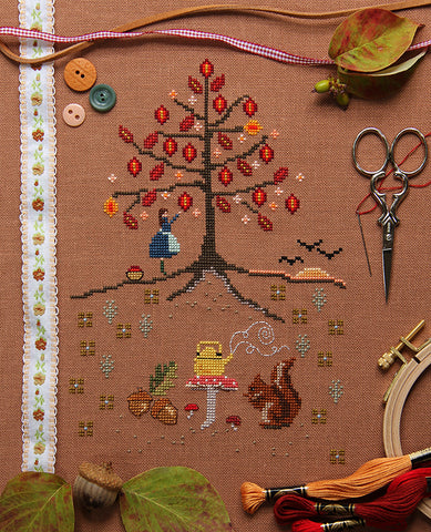 The Leaves by Hundreds Came Cross Stitch Sampler Pattern
