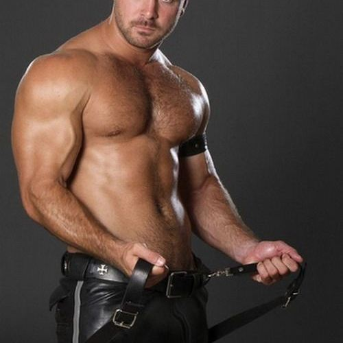 Ready for Action in his leather cockring