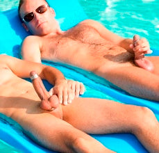 Hard & Jacking in the Pool in their Titan Cockrings & Glans Rings