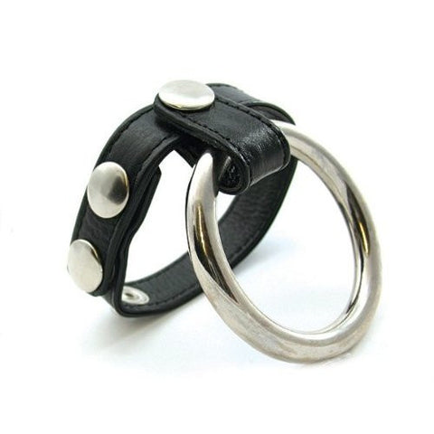 Double Black Leather/Metal Cock Ring