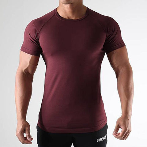 Men's Sports Fitness Running Training Suit Stretch Thin Section Round Neck T-Shirt
