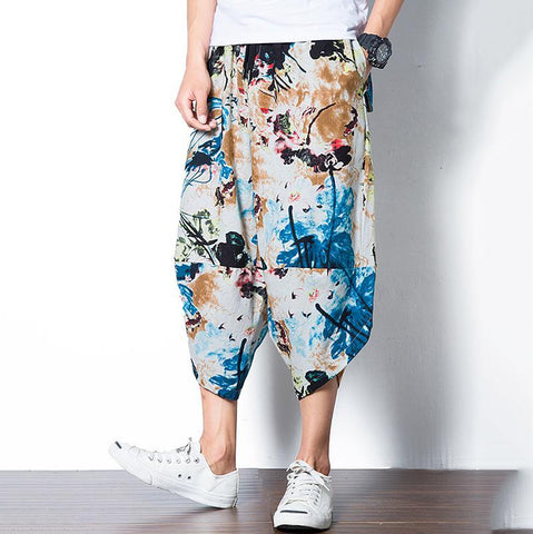 Casual Chinese Style Printed Colour Loose Beach Pants