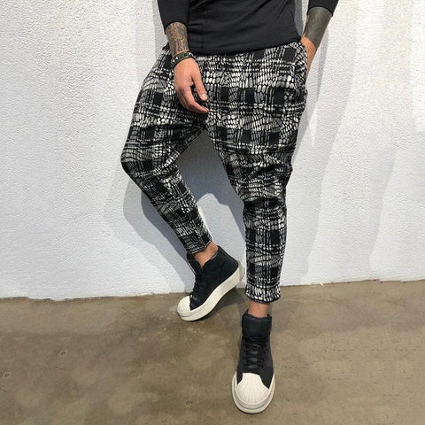 Men's Fashion Gradient Lattice Printing Casual Pants