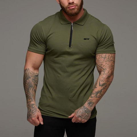 Sports Fitness Casual Lapel Zipper Slim Short Sleeve T-Shirt