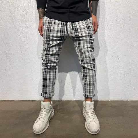 Street Fashion Check Slim Fit Pants