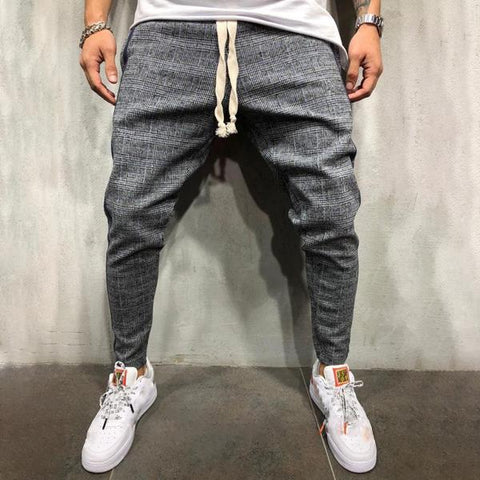 Casual Check Side Stripe Pants