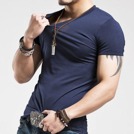 Sports Tight-Fitting Male V-Neck Solid Color T-Shirt