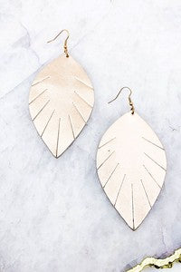 Vegan Leather Rose Gold Feather Earrings