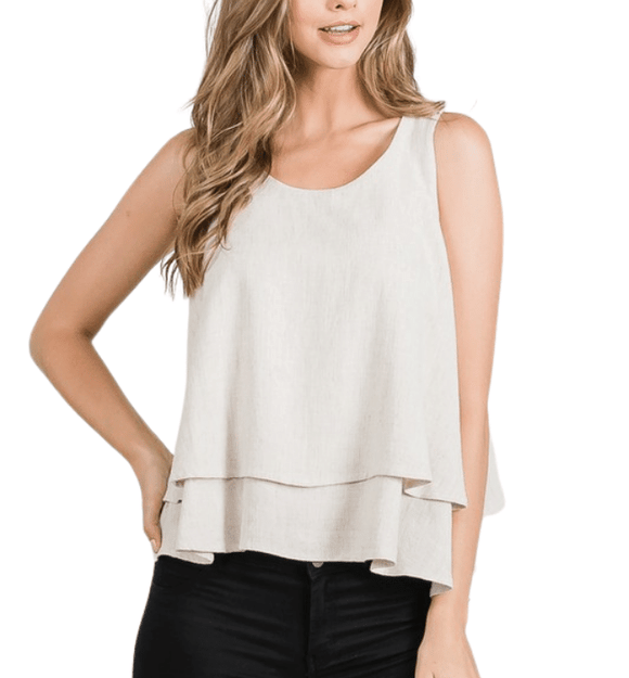 Tiered Linen Tank - Hudson Square Boutique LLC