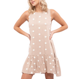 Taupe Dotted Dress - Hudson Square Boutique LLC