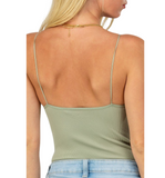 Light Olive Ribbed Cami Bodysuit - Hudson Square Boutique LLC