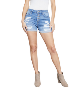 Button Front Distressed Denim Lined Shorts - Hudson Square Boutique LLC