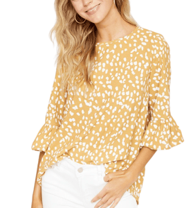 Mustard + White Dotted Top - Hudson Square Boutique LLC
