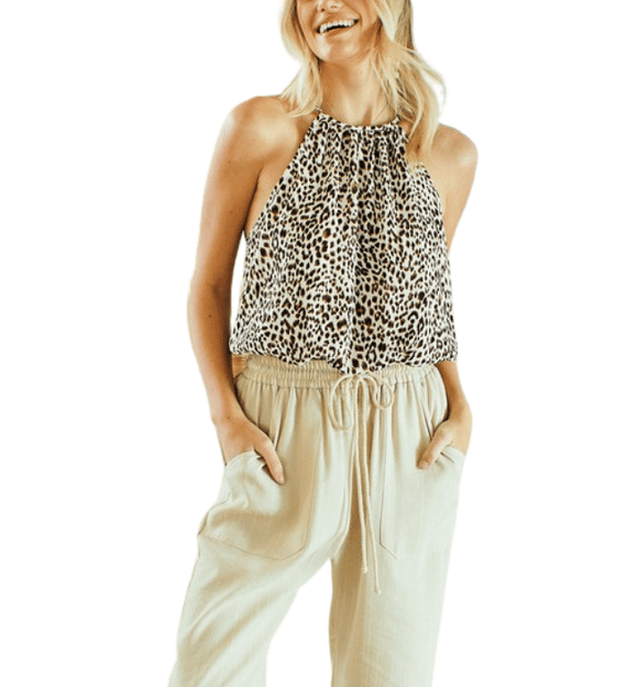 Leopard Smocked Waist Tank - Hudson Square Boutique LLC