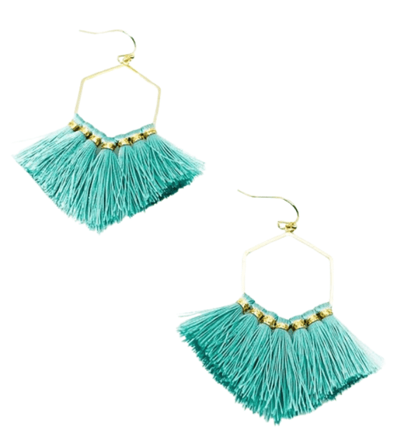 Mint + Gold Boho Earrings