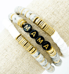 Stacked MAMA Bead Bracelet - Hudson Square Boutique LLC