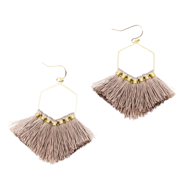 Mauve + Gold Boho Earrings