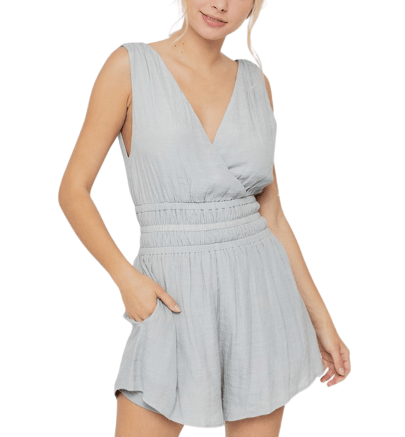 Grey Smocked Waist Romper - Hudson Square Boutique LLC