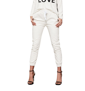 Premium White Vegan Leather Joggers - Hudson Square Boutique LLC