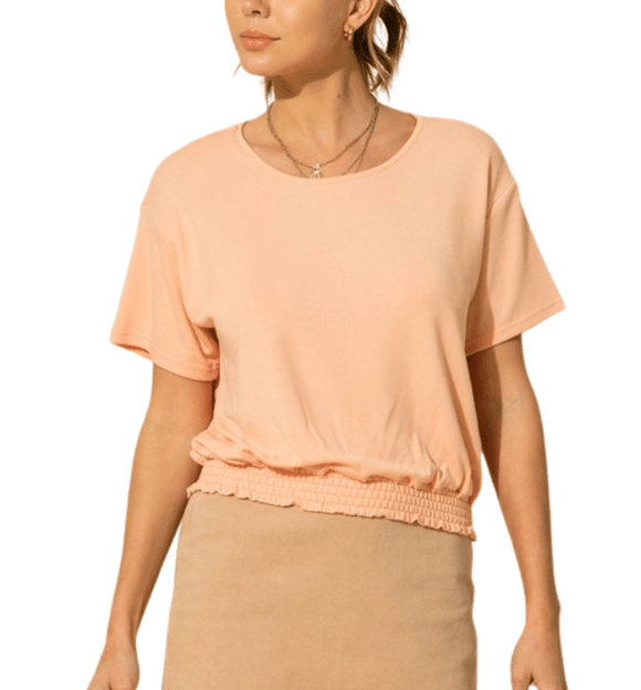 Peach Smocked Waist Top - Hudson Square Boutique LLC