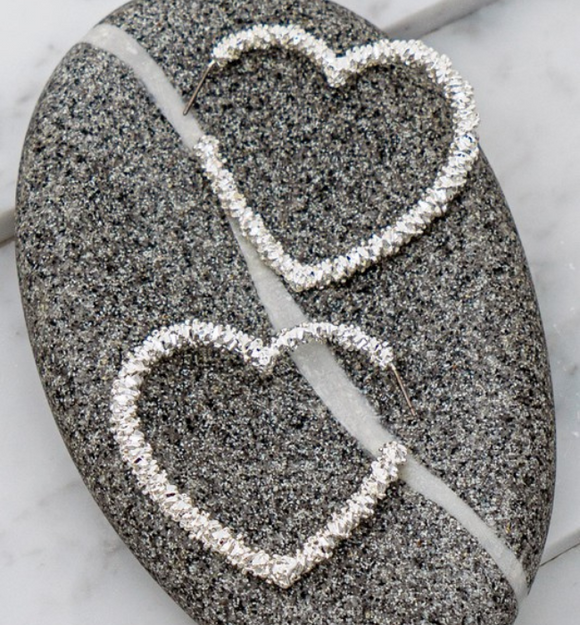 Textured Heart Earrings - Hudson Square Boutique LLC