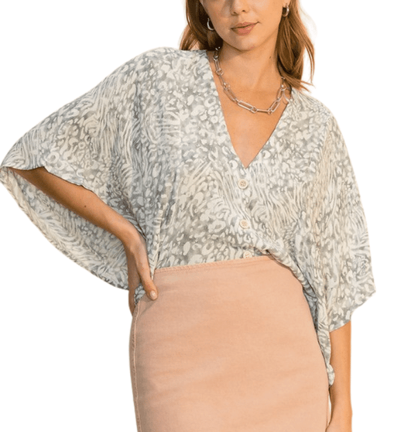 Light Gray Leopard Kimono Top - Hudson Square Boutique LLC