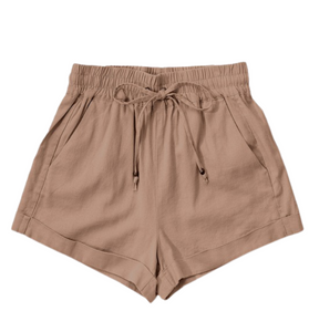 Mocha Linen Waistband Shorts - Hudson Square Boutique LLC