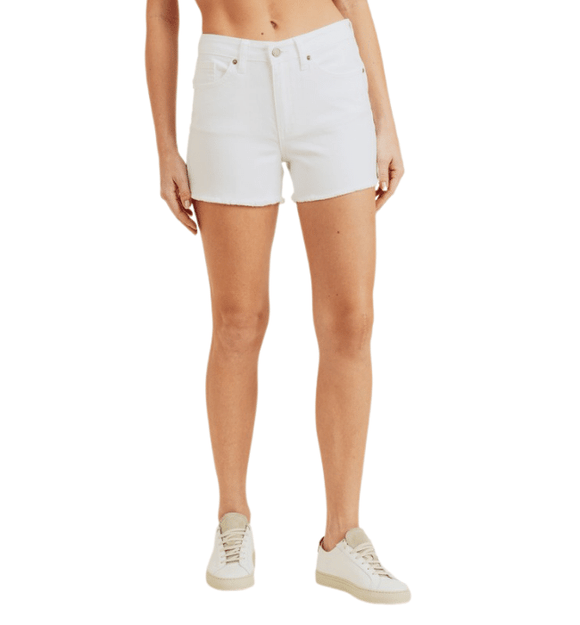 High Rise White Denim Shorts - Hudson Square Boutique LLC